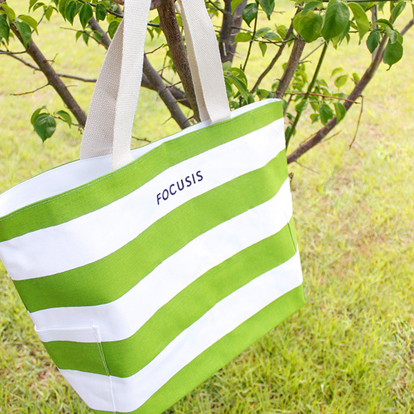 [Focusis]포커시스 에코백_그린 / focusis-ECL-Stripes bag_green